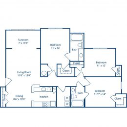 Bell Brookfield Three Bedroom with Sunroom Floor Plan